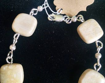 "8"" Riverstone and Sterling Silver Bracelet"