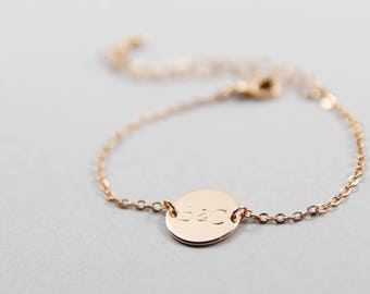 Personalized Initial Disc Bracelet | Initial Bracelet | Disc Bracelet | Custom Bracelet | Dainty Initial Disk | silver, gold, Rose Gold