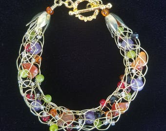 Monster Mash Gold Wire, Amethyst, and Tangerine Quartz Bracelet