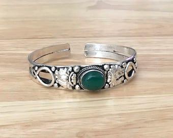 Green Bloodstone  Cuff Bracelet
