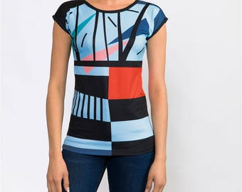 Women's Blue Black Abstract Print Graphic T-Shirt