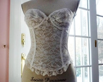 White Lace Corset- Bustier- Strapless- Longline Bra- Sheer Lace- Underwire- Lacy Long Line Bra- Boning- Sexy Wedding Lingerie Honeymoon- 34B