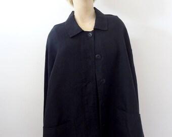 Vintage FLAX Black Linen Jacket Size L