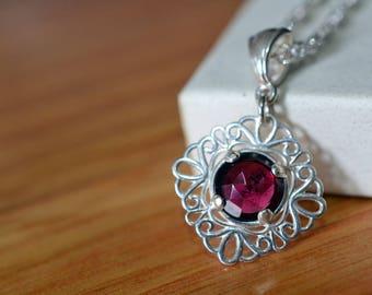 Almandine Garnet Necklace, Natural Rose Cut Gemstone Pendant, Dainty Sterling Silver Filigree Necklace, Wedding Bridal Bridesmaid Jewelry