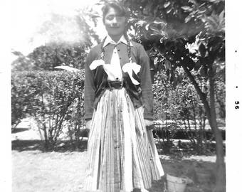 "Vintage Snapshot ""Voted Most Beautiful"" Pretty Teenage Girl Braids Pleated Skirt Cardigan Sweater Found Vernacular Photo"