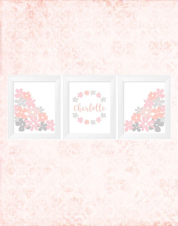 Blush Pink Girls Prints, 3-11x14 Prints with Custom Name