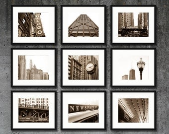 Chicago Photography, Chicago Print Set, City Wall Art, Framed Chicago Prints Canvas Art Sepia Black and White Downtown Chicago Photo Set