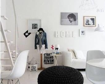 Black Crochet Round Pouf - Foot Stool Pouf - Crochet Pouffe - Knit Pouf Ottoman - Floor Cushion Pouf - Round Floor Pillow - Bean Bag Chair