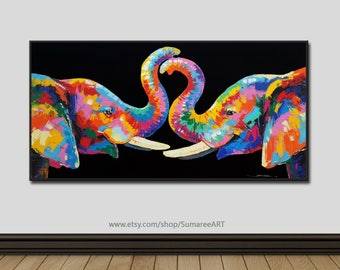 60 x 120 cm, Colorful Elephant Paintings canvas,wall decor
