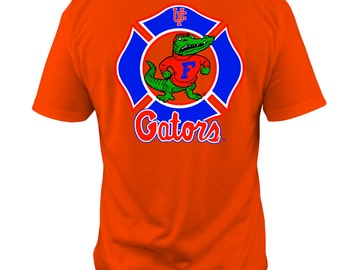 University of Florida Gators Firefighter T-shirt on your choice 100% cotton or dri-fit moisture wicking t-shirt - Free Shipping in US