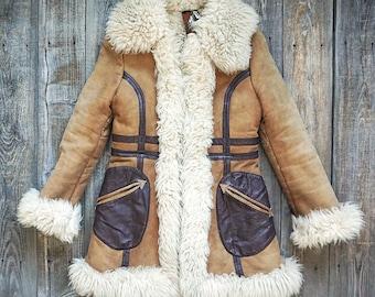 70s Sheepskin Shearling Leather Coat - Yaqub - Rare - Bohemian Rustic Jacket -  Women's Size XS Small