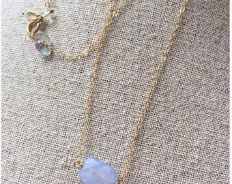 Geometric Jewelry - Single Pearl Necklace, Dainty gold fill necklace with Pastel blue gemstone , Chic Minimalist Jewelry, Princess necklace