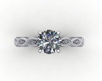 Vintage Inspired Moissanite Engagement Ring, 2.70 Carat Round Cut Forever, Vintage Inspired, Platinum and Diamonds