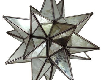 Moravian Star Pendant Light, Antique Mirrored Glass, 19""