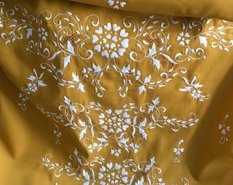 Vintage 1970s Hand Embroidered Fabric Floral Dress Panel Philippines NOS -B8
