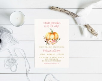 Little Pumpkin Fall Baby Shower Invitation Printable, Autumn Invite, Pumpkin, Watercolor, Baby Girl Shower.