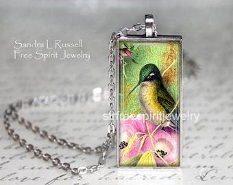 Hummingbird Necklace, Nature Jewelry, Art Pendant, Bird Watcher Gift, Elegant, Flowers,Silver, Pink, Green, Gift for Women, Gift under 20