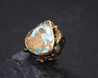 Oxidized Sterling Silver and Gold Turquoise Artisan Designer Ring, Turquoise and Gemstone Ring, Oxidized Sterling Silver Jewelry