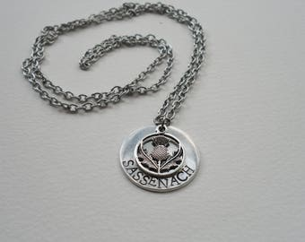 Sassenach - Outlander Inspired Necklace - Hand Stamped Aluminum on Surgical Steel Chain