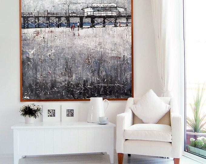"""Abstract 48X48 """"THE LONG PIER"""" Contemporary Art Acrylic Beach Wall Decor"""