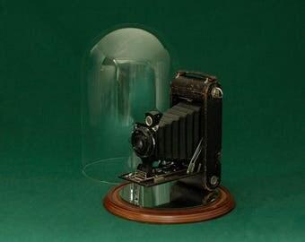 Antique Camera Secret Box, Stash Box with Display Base & Cloche, upcycled repurposed Kodak Jr. No. 1A Autographic Camera