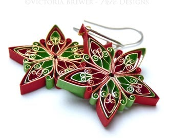 Christmas earrings, Snowflake Eco-friendly, quilling paper, quilled jewellery jewlery