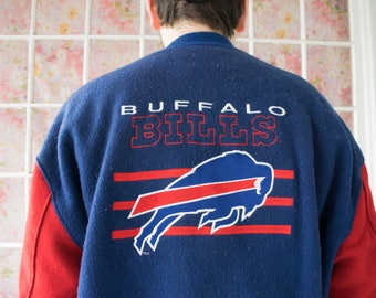 Vintage 70s 80s Buffalo Bills Wool Button-Up Varsity Jacket