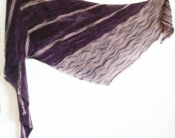 Asymmetrical Shawl - Gift for Her - Knit Shawl - Purple Shawl - Knitted Shawl - Knit Striped Shawl - Purple Scarf - Purple Lace Shawl - OOAK