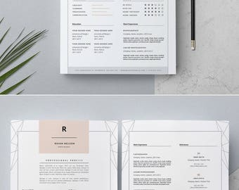 Creative Resume Template & Cover Letter 4 MS Word _ 3 Page Resume Design _ Teacher Resume Template _ CV Design _ Instant Download / 'Rhian'