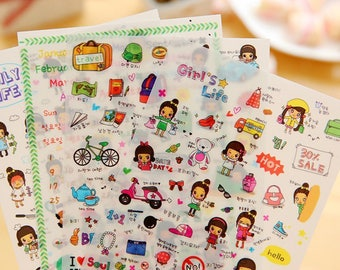Petit World Travel Stickers / Travel Planner Stickers (4 Sheets) / Cute Stickers / Korean Stationery / Cute Diary Stickers / Kawaii Stickers