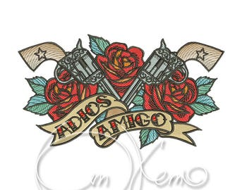 MACHINE EMBROIDERY DESIGN - Old school Adios Amigo, old school tattoo embroidery, Rose embroidery