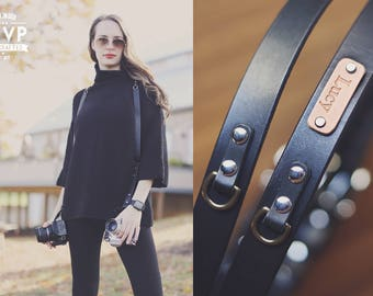 Personalized Double Camera Harness, Dual Camera Harness Real Leather Multicamera Strap, Handmade Adjustable Custom name initials Black Brown