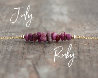 July Birthstone Necklace, Raw Ruby Necklace, Genuine Ruby Crystal Jewelry, July Birthday Gift, Raw Stone Choker, Healing Crystal Necklace