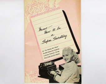 How to be a Super Secretary Booklet - Remington Rand Typewriter Advertisement - 1945 Secretary How To - Mid Century Office Guide - Madmen