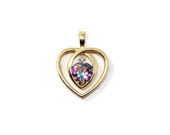 10K Gold Mystic Topaz Heart Pendant for Necklace