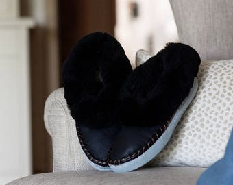 Men sheepskin slippers