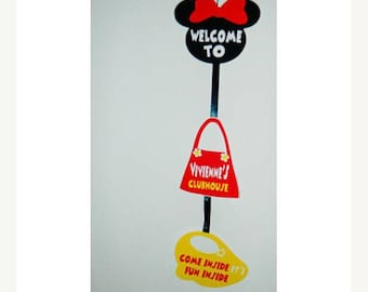 Personalized Minnie Sign. Come Inside It's fun inside. See Ya Soon. Welcome to. Minnie