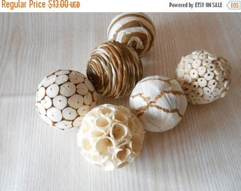 ON SALE Set of 6 Decorative Balls, Bowl Fillers, Wedding Table Decor, Rustic decor, Cottage Style,Eco Friendly Decor, Natural Decor Country,