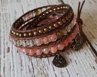 Cherry Quartz & Gold Hematite Wrap Bracelet, Charm Bracelet, Bohemian Wrap Bracelet, Boho Jewelry, Yoga Jewelry, x4 Wrap Bracelet Beaded
