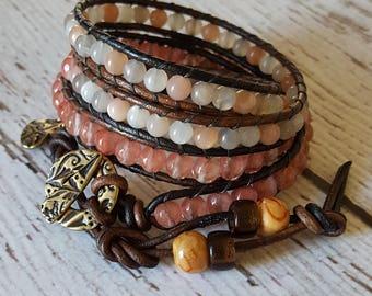 Cherry Quartz & Moonstone Wrap Bracelet, Charm Bracelet, Boho Chic Wrap Bracelet, Moonstone Jewelry, Yoga Jewelry, x4 Wrap Bracelet Beaded