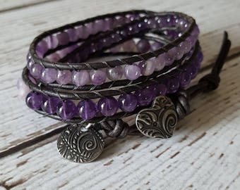 Amethyst Wrap Bracelet, Amethyst Bracelet, Amethyst Charm Bracelet, Amethyst Jewelry, Bohemian Jewelry, Yoga Jewelry, 3 Wrap Bracelet Beaded