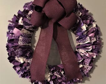 Rag Wreath, Front Door Wreath, Lavender Rag Wreath - Purple Fabric Wreath - Lavender Home Decor - Purple Wreath - Purple Nursery Decor
