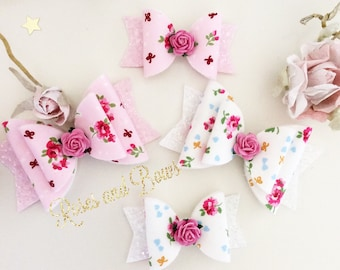 Roses and Bows Bow Headband - Floral Glitter Bow - pink or white Bow - Floral Bow Geadbabd Headband - Glitter Bow Clip - Flower Bow
