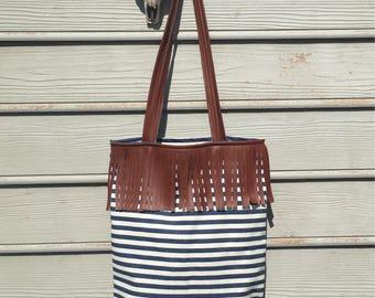 Denim striped canvas fringe southwestern tote bag