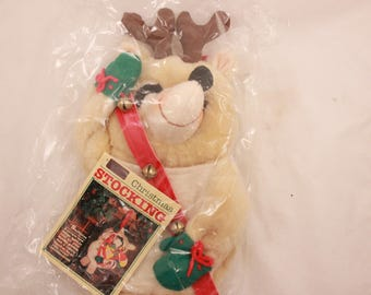 "Vintage 1982 Hallmark Christmas Stocking. ""Stuffables Reindeer"". QSF 601-6"
