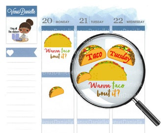 Taco Stickers,Taco Tuesday Planner Stickers, Taco Planner Stickers, Taco Planner