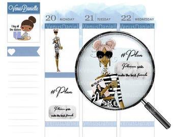 Fashion Doll Planner Sticker Sheet, Planner Stickers, Planner Doll, Fashion Illustration Doll, Planner Girl, Fashion Planner, Mocha Doll