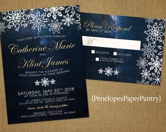 Rustic Winter Wedding Invitation,Winter Night Sky,Stars,Snowflakes,Gold Print,Shimmery,Rustic,Romantic,Custom,Printed Invitation or Set