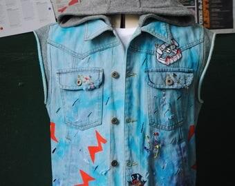 Distressed Denim KISS Vest