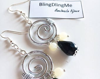 Earrings with jade and crystals